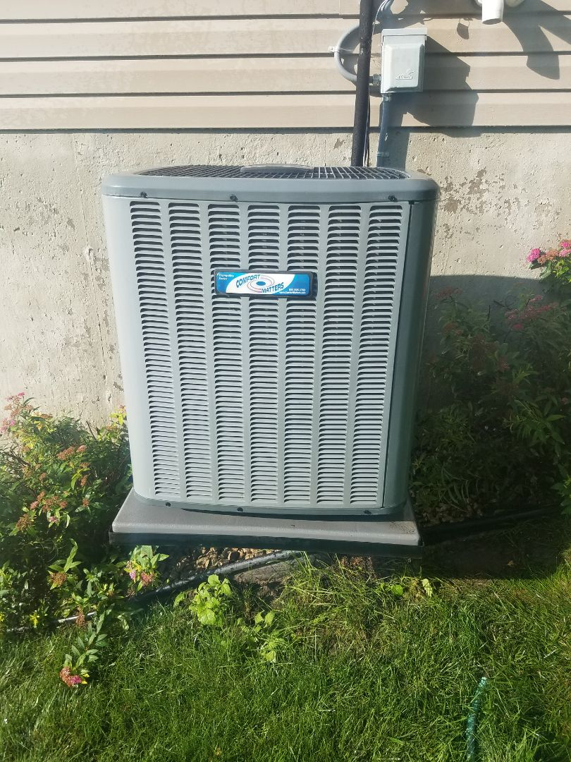 Osseo, MN - Cooling maintenance. Performed tune up and cleaning on a Comfort Matters air conditioner. Installed furnace vent protection and drain pan treatment.