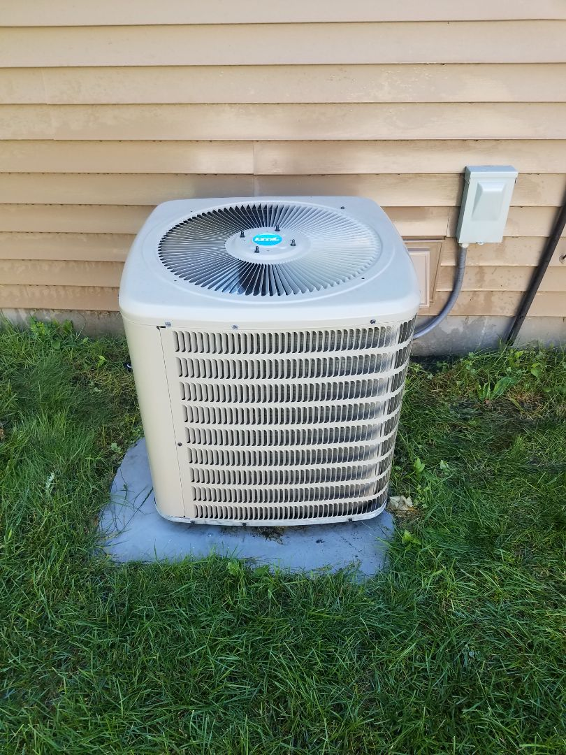 Hanover, MN - Cooling maintenance. Performed tune up and cleaning on a Goodman air conditioner.