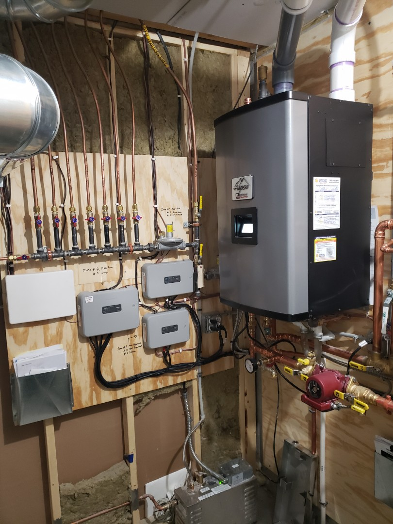 Maple Grove, MN - Hydronic service. Repair wiring of zone pumps for on an Aspen boiler.