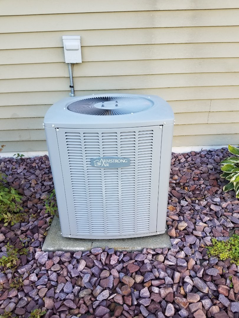 Rogers, MN - Cooling maintenance. Performed tune up and cleaning on a Armstrong Air AC.