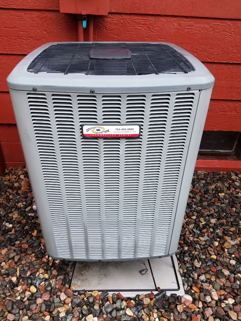 Hanover, MN - AC maintenance. Performed cleaning and tune up on a Comfort Matters air conditioner.