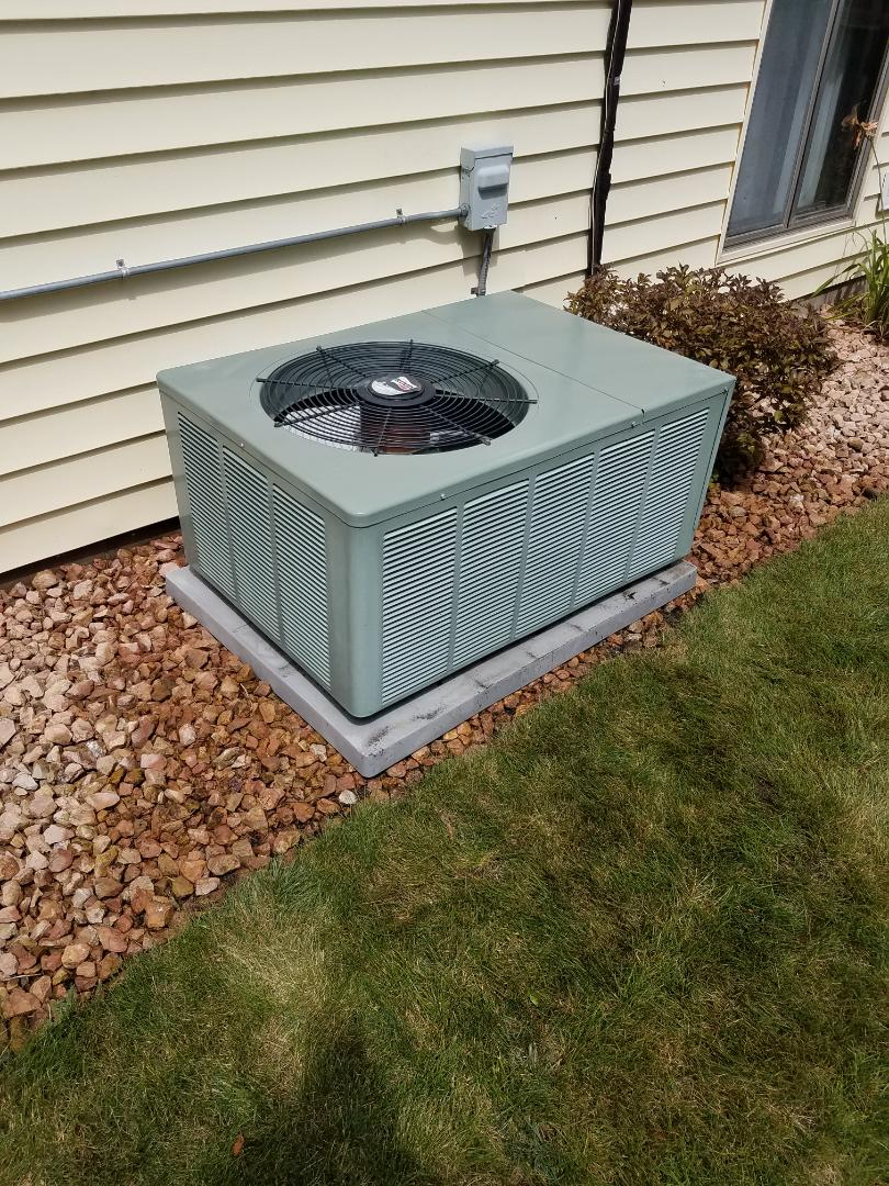 Maple Grove, MN - Cooling maintenance. Performed tune up and cleaning on a Ruud AC.
