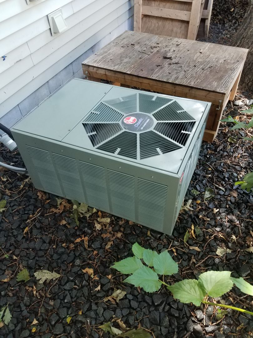 Hanover, MN - AC maintenance. Performed cleaning and tune up on a Rheem AC.
