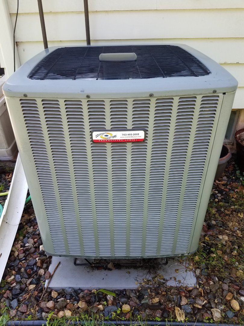 Mound, MN - AC maintenance. Performed cleaning and tune up on a Comfort Matters.