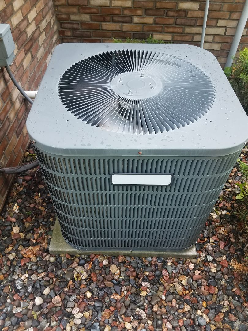 Albertville, MN - Cooling maintenance. Performed tune up and cleaning on a Goodman air conditioner.