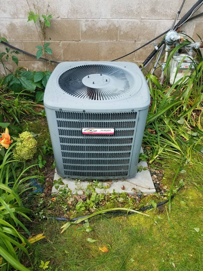 Buffalo, MN - Cooling maintenance. Performed tune up and cleaning on a Comfort Matters air conditioner. Changed abd dates furnace filter.