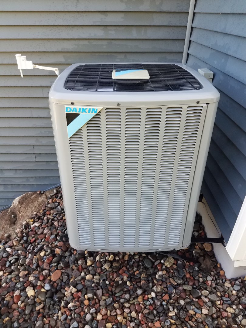 Buffalo, MN - Cooling maintenance. Performed tune up and cleaning on a Daikin air conditioner.