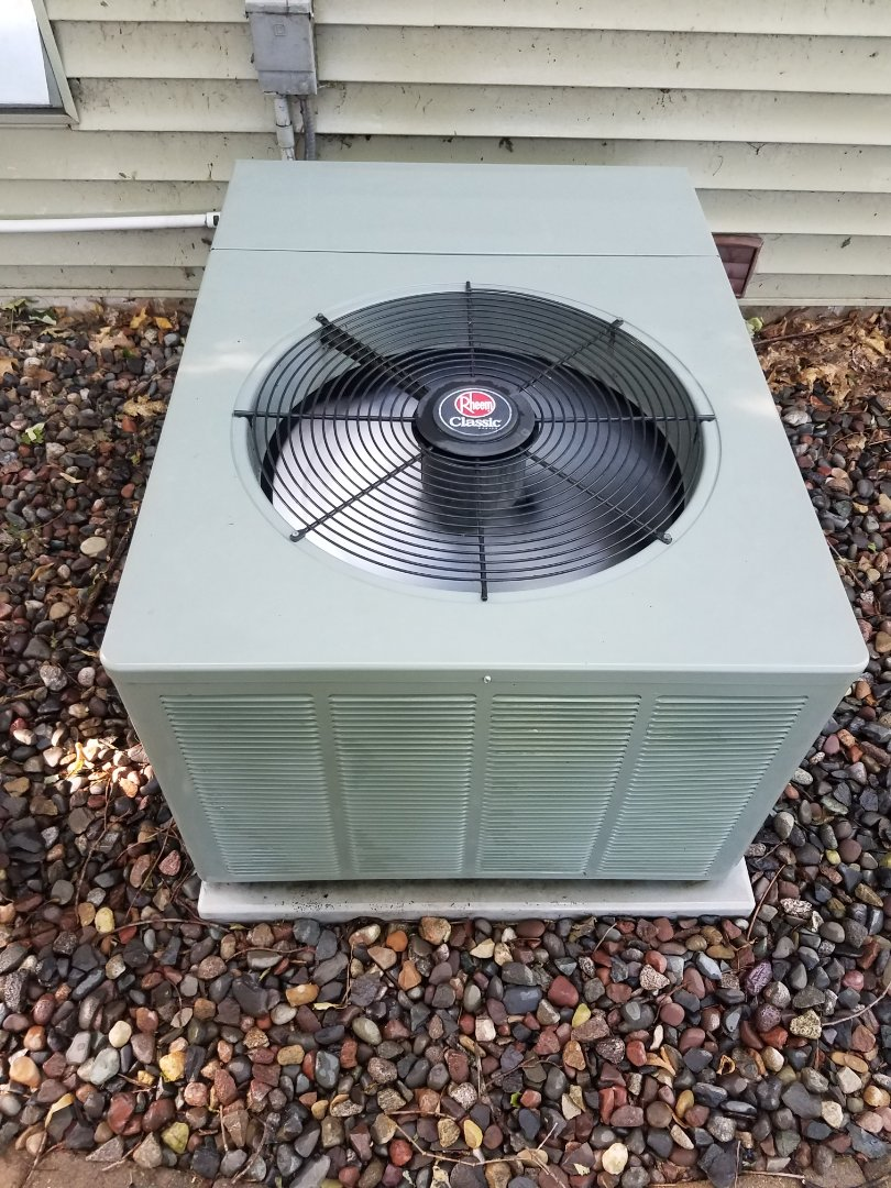 Buffalo, MN - AC maintenance. Performed tune up and cleaning on a Rheem AC.