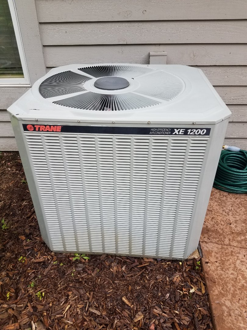 Medina, MN - Cooling maintenance. Performed cleaning and tune up on a Trane air conditioner.