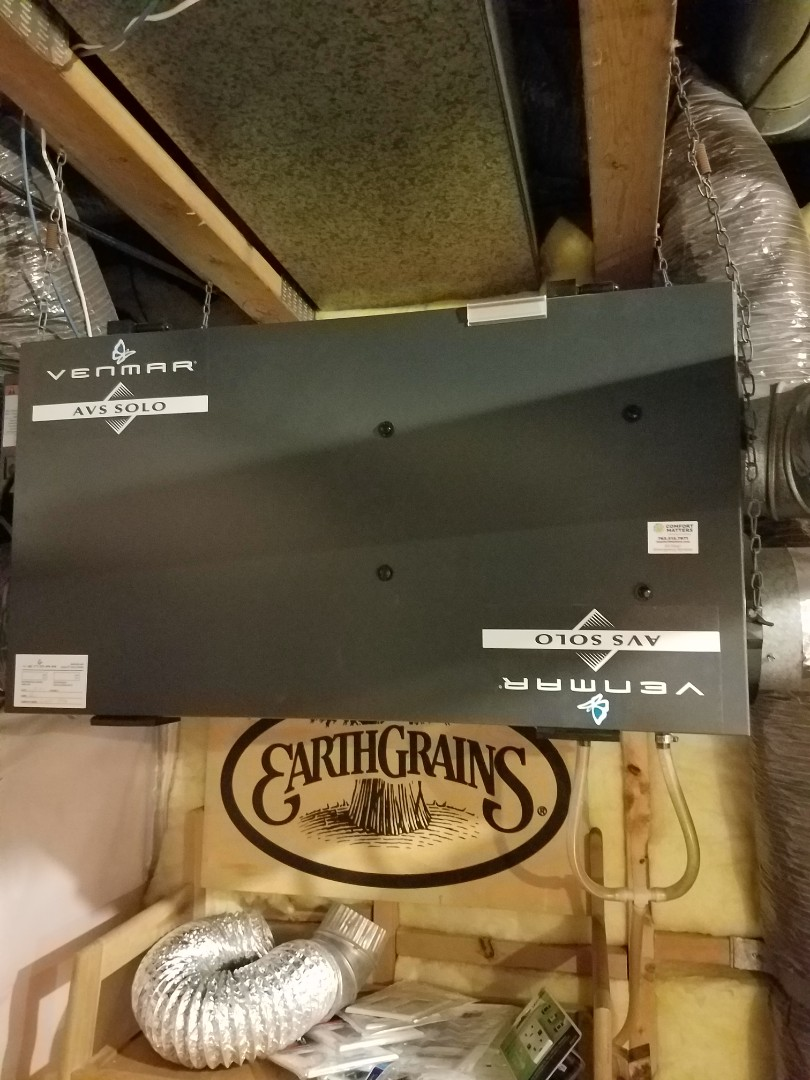 Rogers, MN - Air exchanger maintenance. Performed tune up and cleaning on a Venmar air exchanger.
