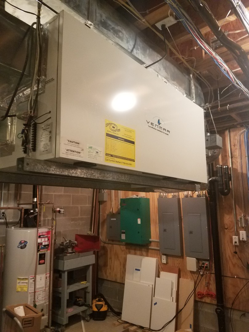 Orono, MN - Air exchanger maintenance. Performed tune up and cleaning on a Venmar air exchanger.