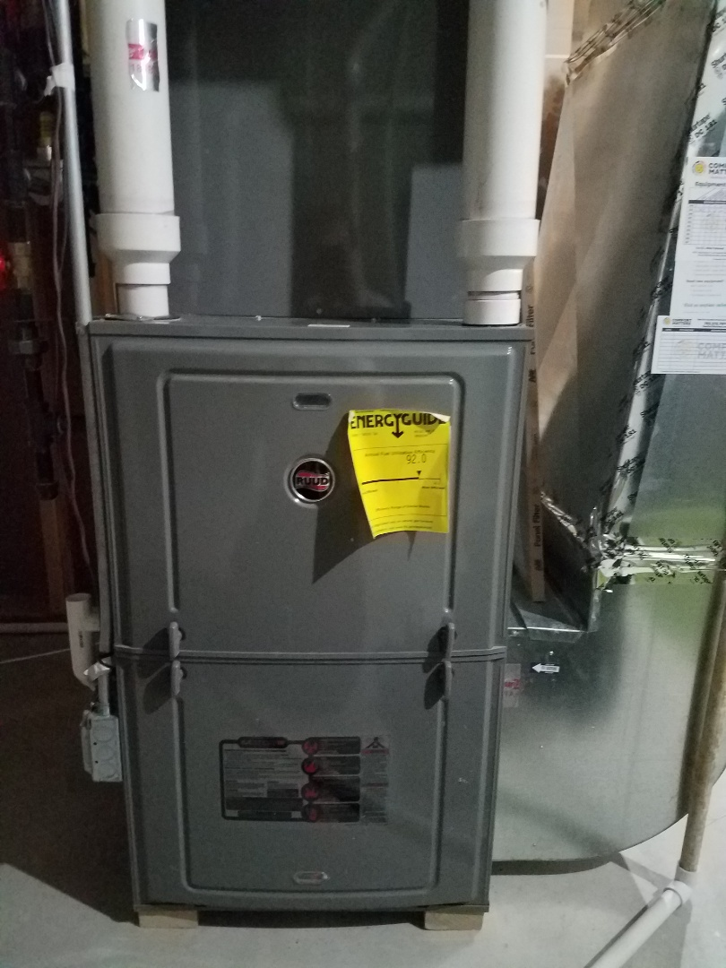 Plymouth, MN - Furnace maintenance. Performed cleaning and tune up on a Ruud furnace. Installed furnace vent protection.