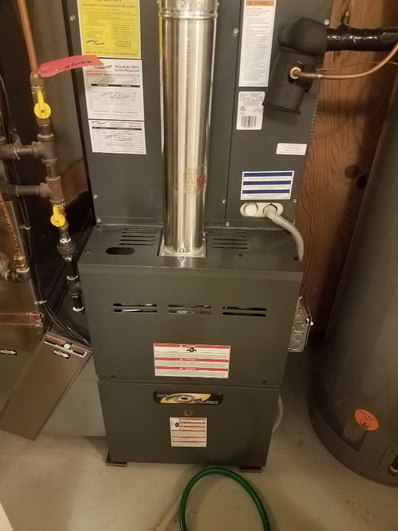 Plymouth, MN - Furnace maintenance. Performed tune up and cleaning on a Comfort Matters furnace.