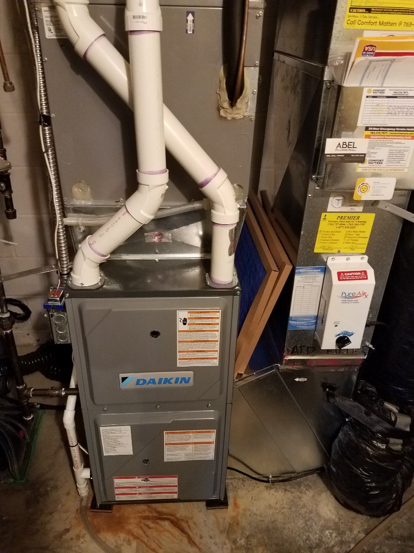 Buffalo, MN - Heating maintenance. Performed cleaning and tune up on a Daikin furnace.