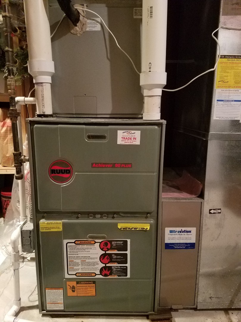 Elk River, MN - Furnace maintenance. Performed tune up and cleaning on a Ruud furnace.