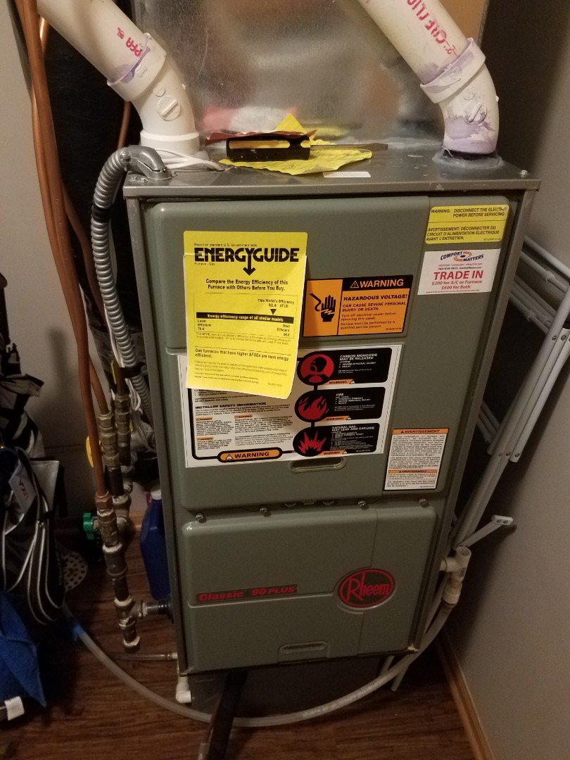Rogers, MN - Furnace maintenance. Performed tune up and cleaning on a Rheem furnace.