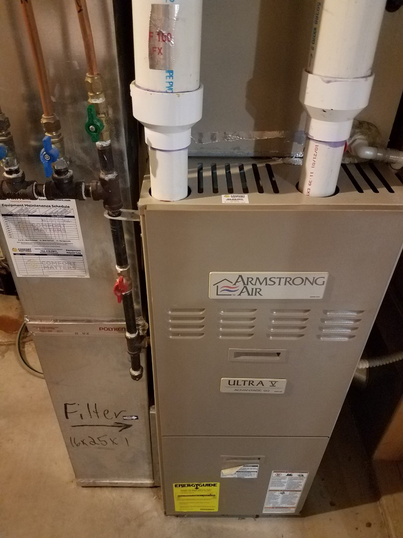 Rogers, MN - Furnace maintenance. Performed tune up and cleaning on a Armstrong Air furnace.
