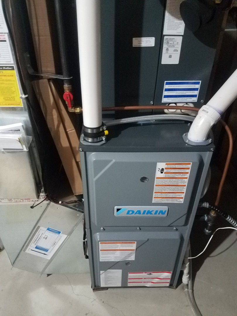 Buffalo, MN - Furnace maintenance. Performed tune up and cleaning on a Daikin furnace. Installed new UV light bulb, furnace vent protection and ECM motor power protection.