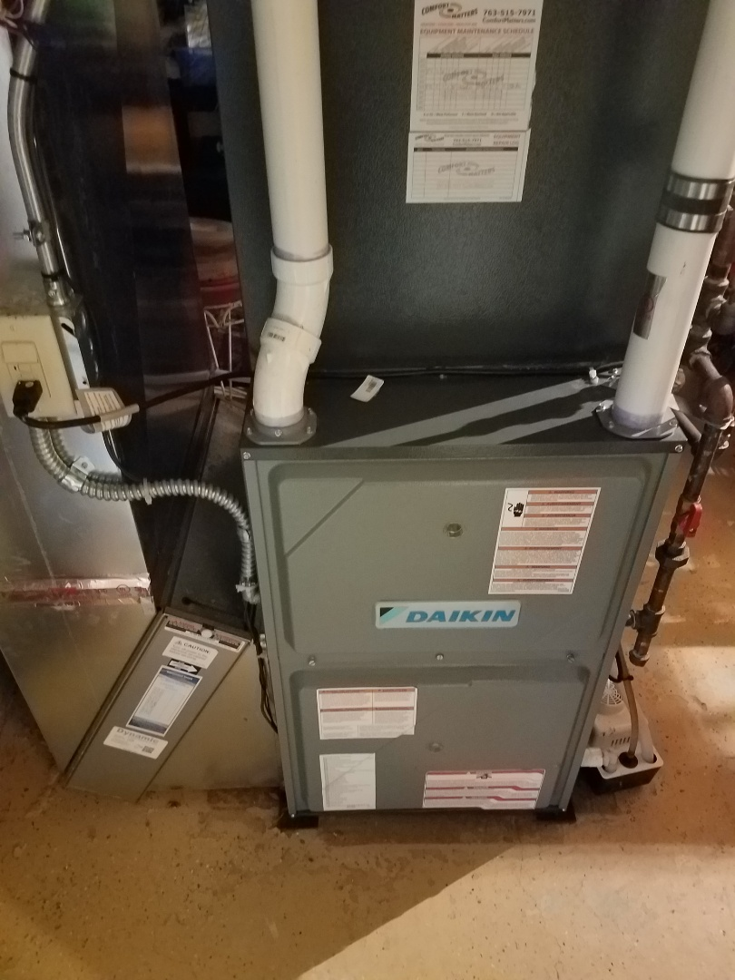 Rogers, MN - Heating maintenance. Performed cleaning and tune up on a Daikin furnace.