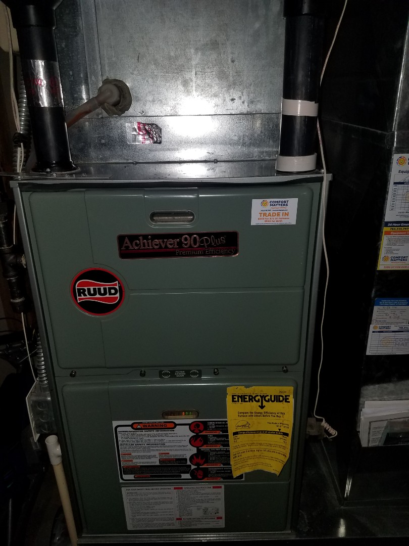 Buffalo, MN - Furnace tune up and clean on Ruud unit in Monticello