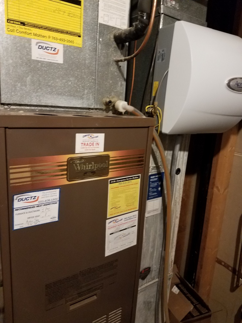 Saint Michael, MN - Furnace tune up and clean in Whirlpool unit in Hanover
