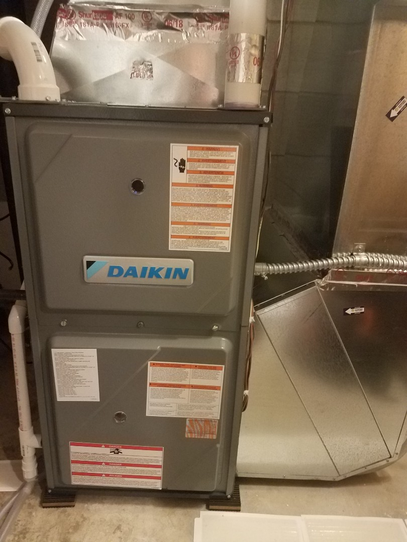Maple Grove, MN - Heating maintenance. Installed ECM motor surge protection and furnace vent protection on a Daikin furnace.