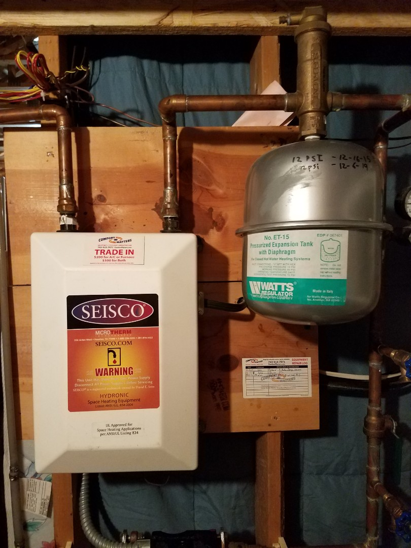 Buffalo, MN - Boiler maintenance. Purged and filled a Seisco electric boiler. Performed tune up on Seisco boiler.