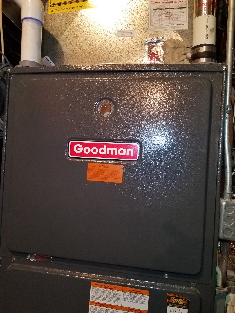 Monticello, MN - Replaced failed pressure switch on Goodman furnace in Greenfield. Also performed furnace tune up