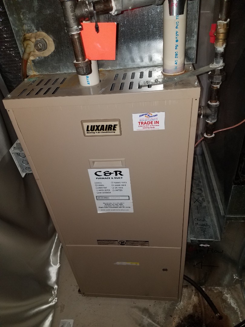 Otsego, MN - Furnace maintenance. performed tune up and cleaning on a Luxaire furnace.