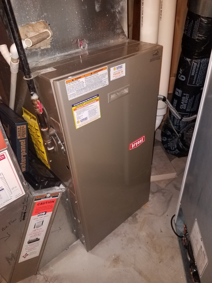 Hanover, MN - No heat on Bryant furnace in Maple Grove. Found plugged condensate trap l, clean trap to return heating operation