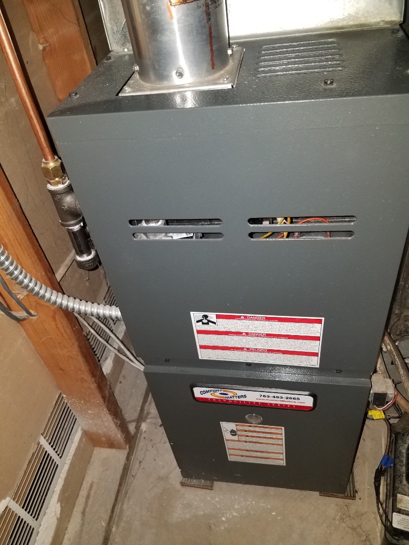 Otsego, MN - Furnace maintenance. Performed tune up and cleaning on a Comfort Matters furnace.