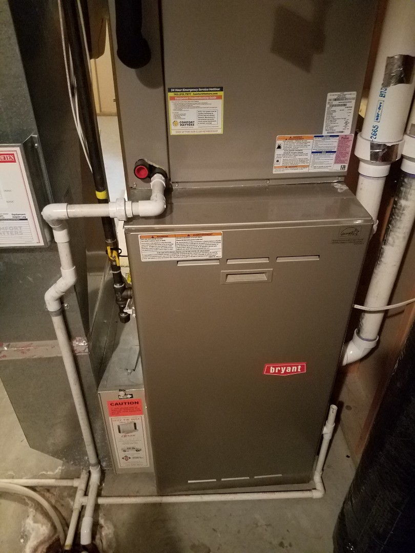 Osseo, MN - Furnace maintenance. Performed tune up and cleaning on a Bryant furnace. Installed new furnace control board.