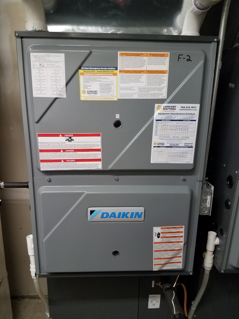 Delano, MN - Furnace maintenance. Performed tune up and cleaning on a Daikin furnace