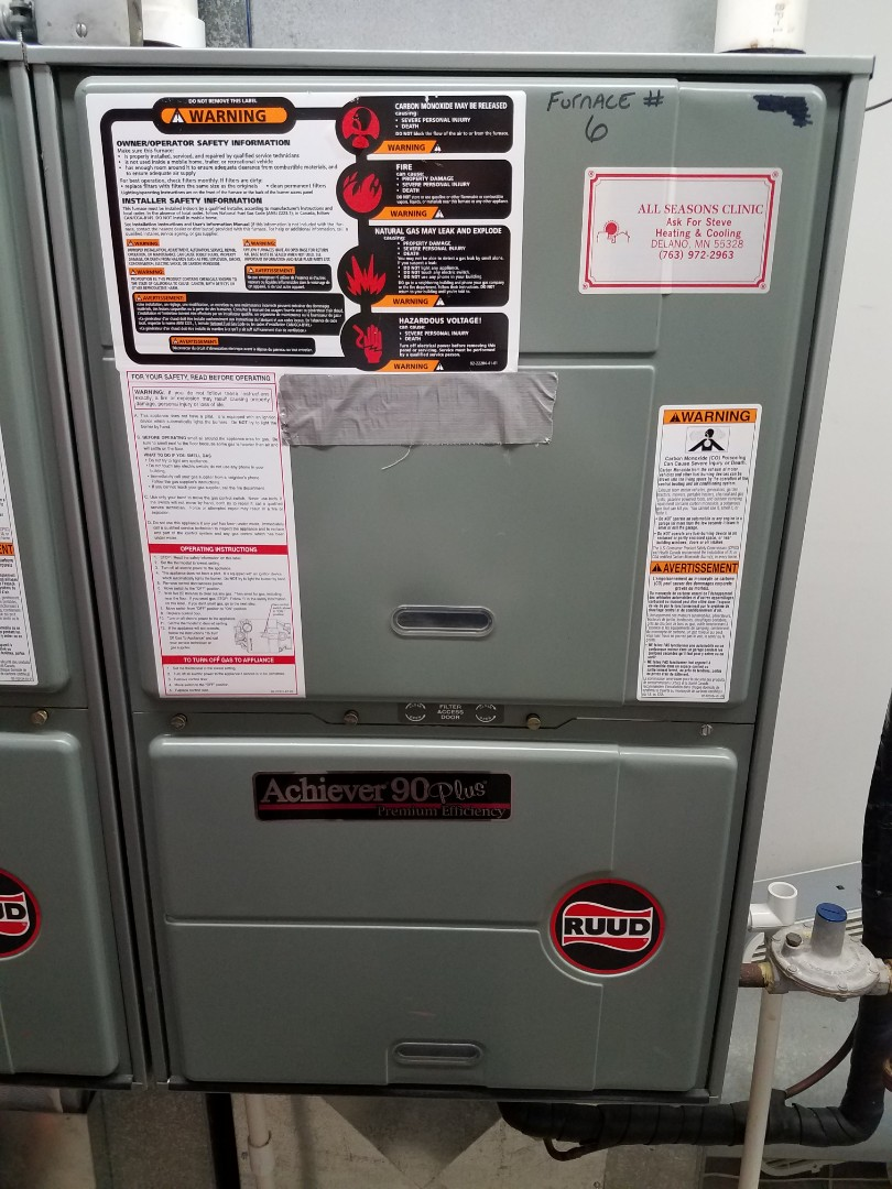 Delano, MN - Heating maintenance. Performed cleaning and tune up on a Ruud furnace.