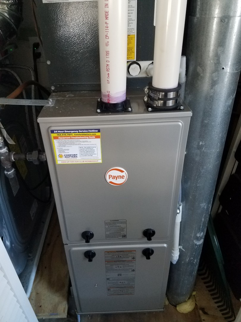 Long Lake, MN - Furnace maintenance. Performed tune up and cleaning on a Payne furnace.