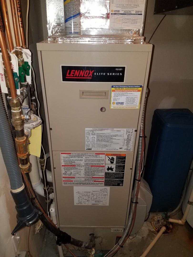 Saint Michael, MN - Furnace maintenance. Cleared a clogged drain line on a Lennox furnace.