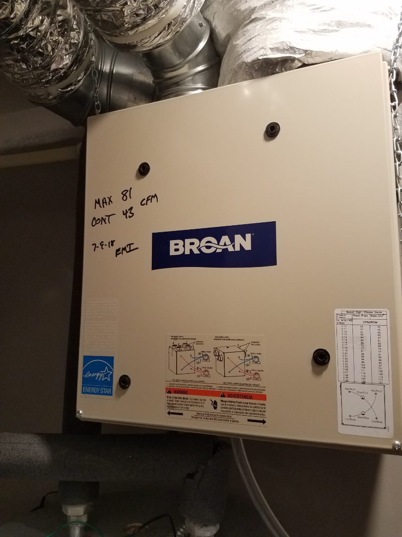 Maple Grove, MN - Air exchanger maintenance. Performed tune up and cleaning on a Broan air exchanger.