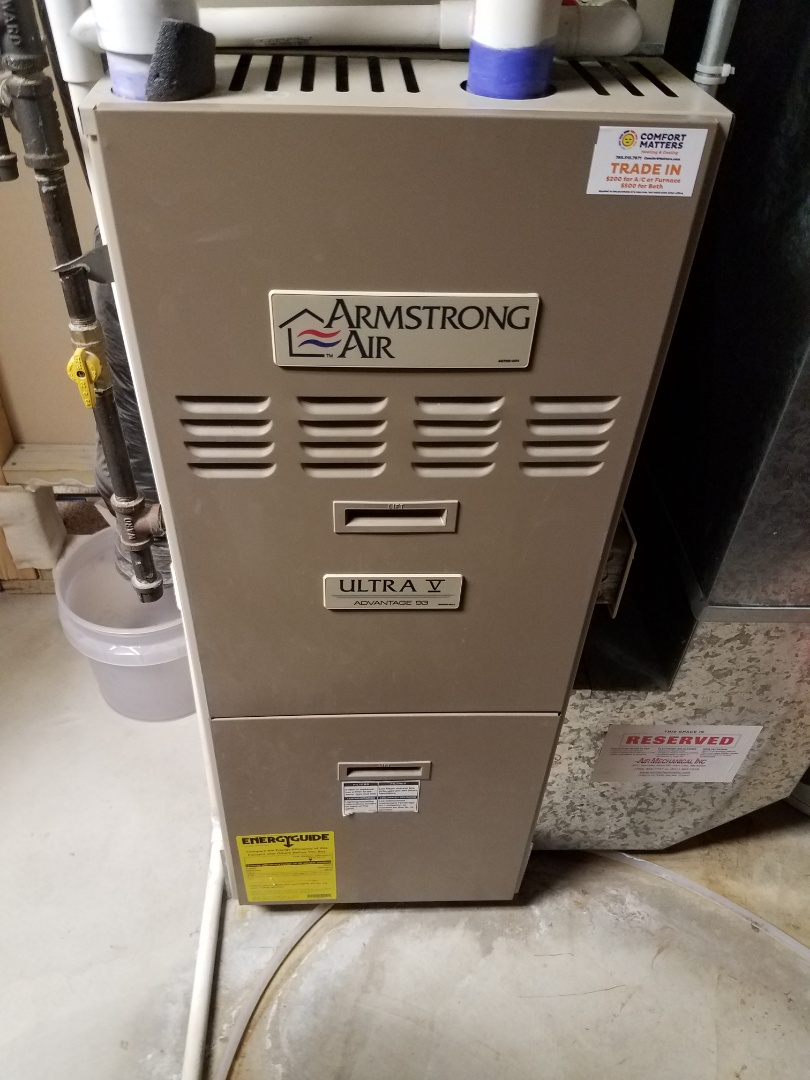 Otsego, MN - Heating maintenance. Performed cleaning and tune up on a Armstrong Air furnace.