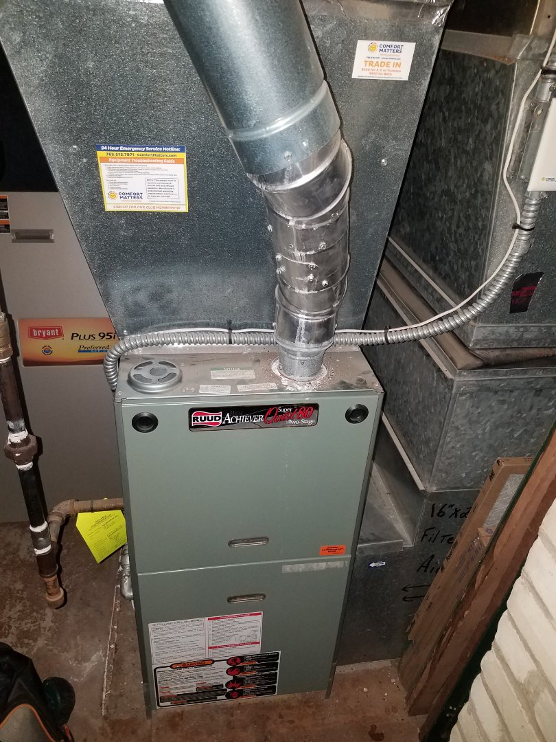 Wayzata, MN - Furnace maintenance. Performed tune up and cleaning on a Ruud furnace.