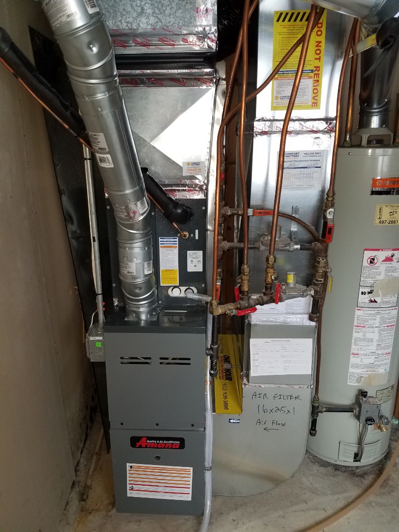 Dayton, MN - Heating maintenance. Performed cleaning and tune up on a Amana furnace.