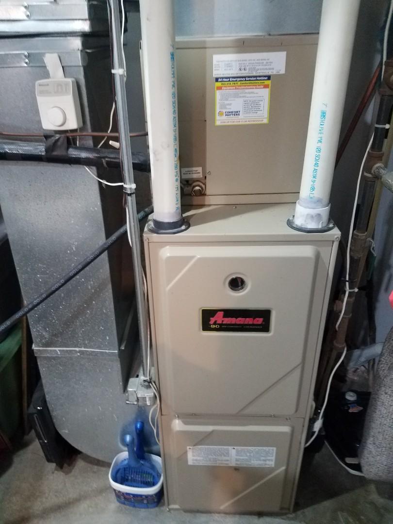 Rogers, MN - Furnace maintenance. Performed diagnostics on an Amana furnace.