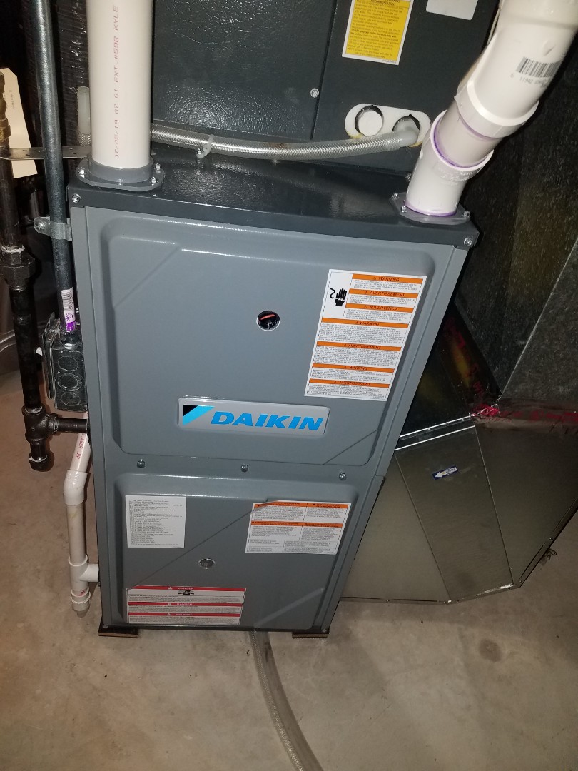Albertville, MN - Furnace maintenance. performed tune up and cleaning on a Daikin furnace. Installed ECM motor power protection.