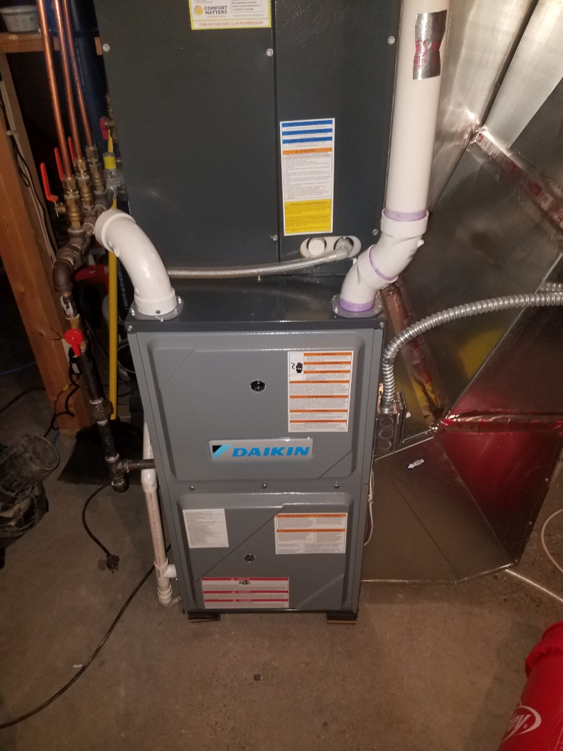 Saint Michael, MN - Furnace maintenance. Performed tune up and cleaning on a Daikin furnace.