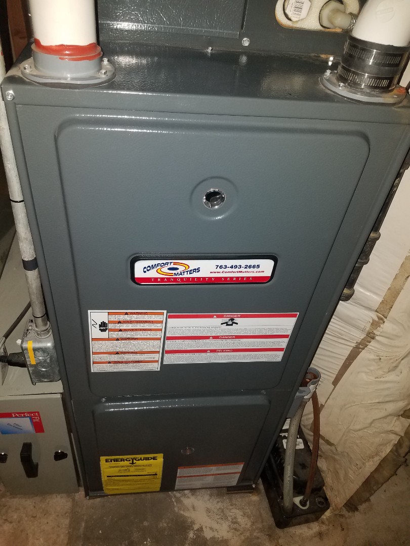Buffalo, MN - Furnace maintenance. Performed tune up and cleaning on a Comfort Matters furnace.