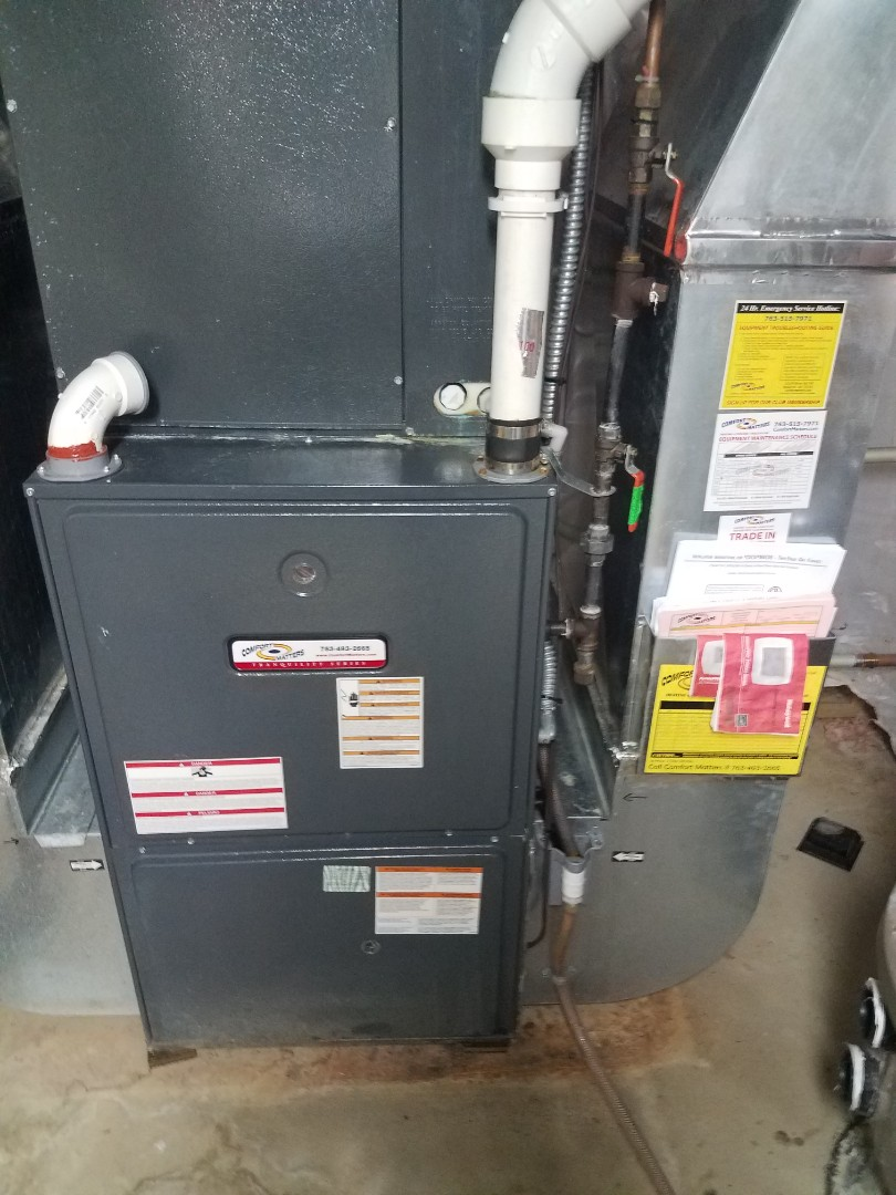 Buffalo, MN - Heating maintenance. Performed cleaning and tune up on a Comfort Matters furnace.