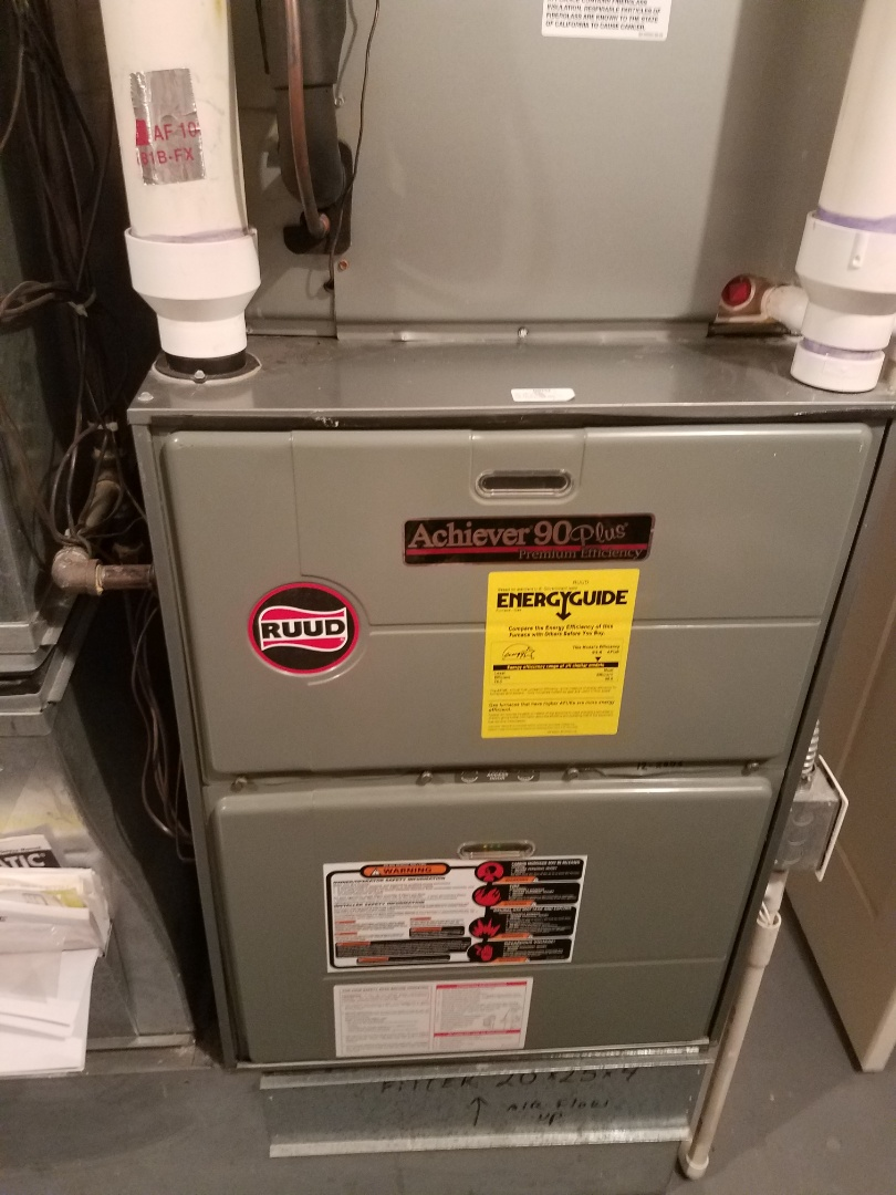 Rockford, MN - Furnace maintenance. Performed tune up and cleaning on a Ruud furnace.