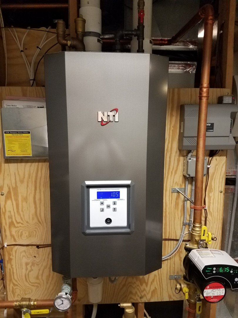 Loretto, MN - Boiler maintenance. Performed cleaning and tune up on a NTI boiler.