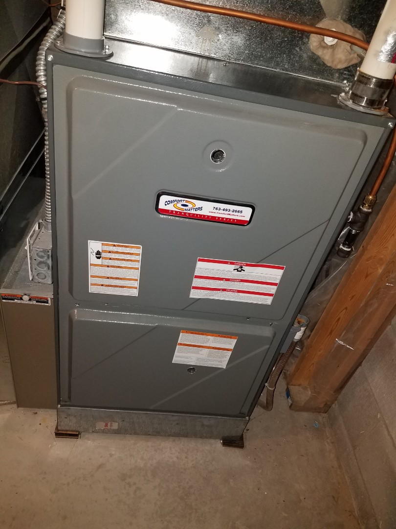 Medina, MN - Furnace maintenance. Diagnosed and replaced a failed main flame safety sensor on a Comfort Matters furnace.