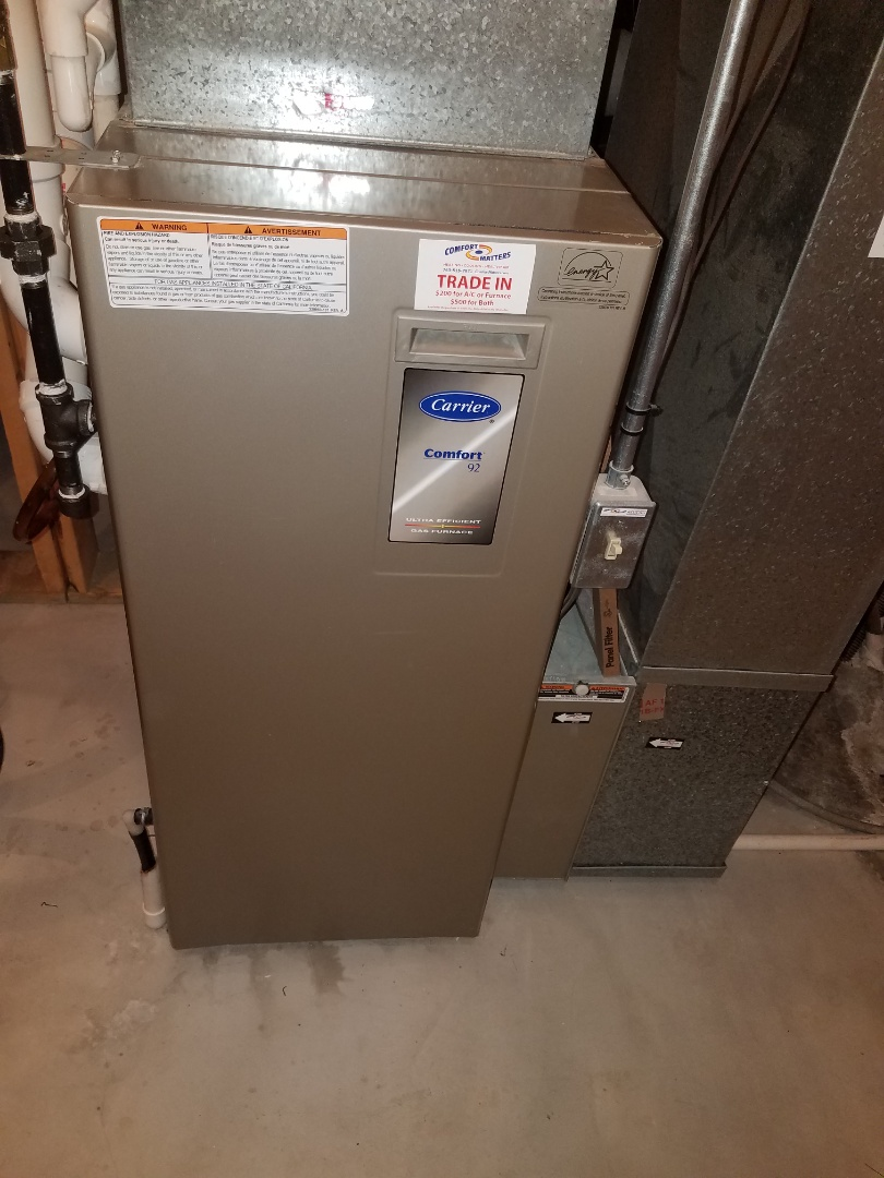 Hanover, MN - Heating maintenance. Performed cleaning and tune up on a Carrier furnace.