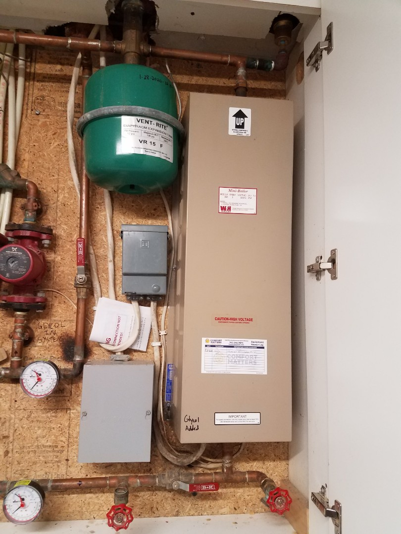 Plymouth, MN - Boiler maintenance. Diagnosed an Electro Industries electric mini boiler.